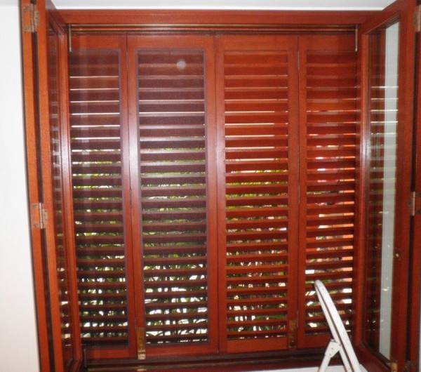 A screened set of shutters